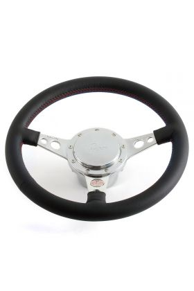 Mini Leather Steering Wheel by Moto-Lita - Black with Red Stitching
