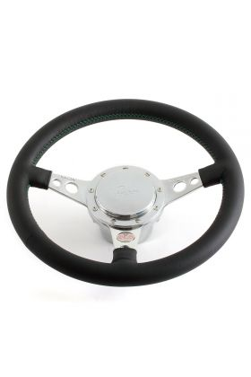 Classic Mini Black Steering Wheel - No Horn - Green Stitching