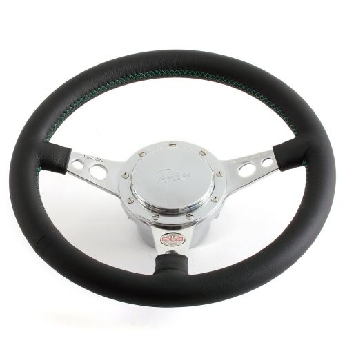 Classic Mini Black Steering Wheel - No Horn - Green Stitching