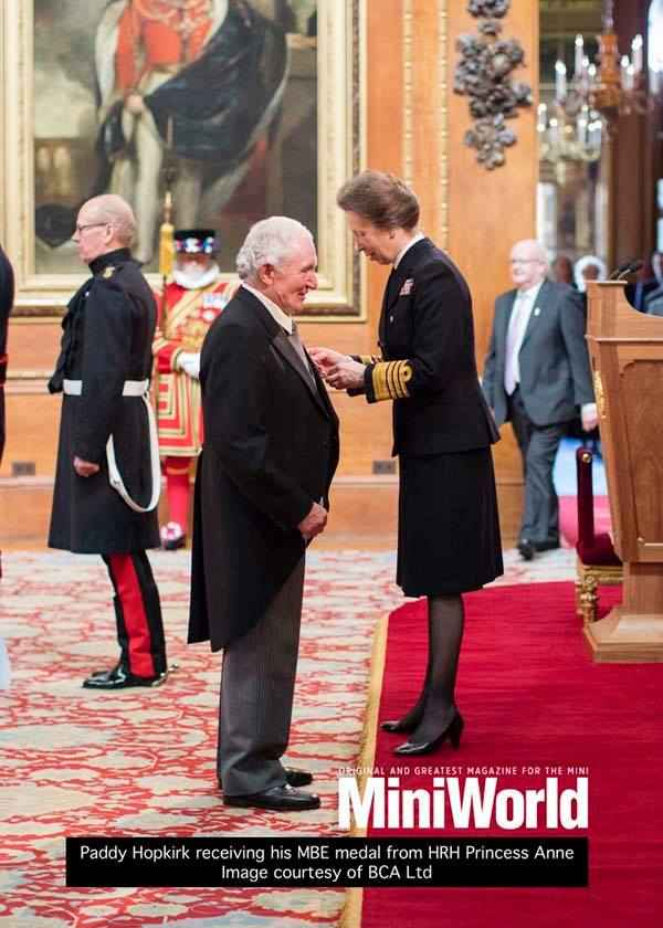 Paddy Hopkirk receives his MBE from HRH Princess Anne